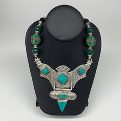 Turkmen Necklace Antique Afghan Tribal Green Turquoise Inlay V-Neck, Necklace T8