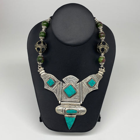 Turkmen Necklace Antique Afghan Tribal Green Turquoise Inlay V-Neck, Necklace T7