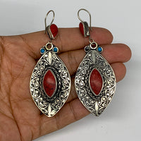 """1pc, 3.1""""x1.2"""" Turkmen Earring Tribal Jewelry Red Coral Inlay Marquise Boho, B14"""