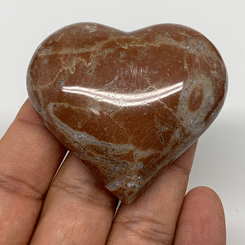 "62.1g, 2"" x 2.2""x 0.6"", Natural Untreated Red Shell Fossils Half Heart @Morocco,"