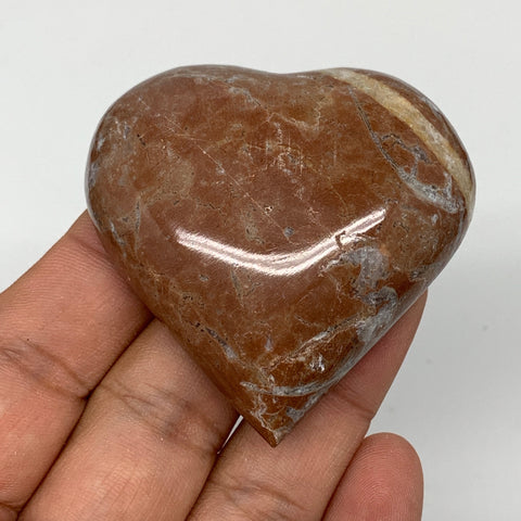 "63.5g, 2.1"" x 2.1""x 0.6"", Natural Untreated Red Shell Fossils Half Heart @Morocc"
