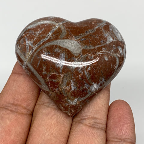 "70.6g, 2"" x 2.2""x 0.7"", Natural Untreated Red Shell Fossils Half Heart @Morocco,"
