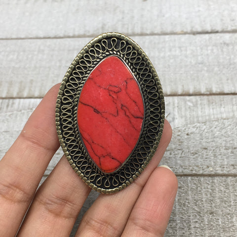Antique Afghan Turkmen Tribal Marquise Red Coral Inlay Kuchi Ring Boho Size 7 TR