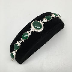 21.4 Grams Gemstone Green Onyx Handmade Chained Bracelet from India, PI42