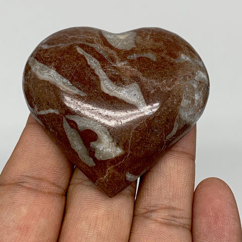 "62.8g, 2.1"" x 2.2""x 0.6"", Natural Untreated Red Shell Fossils Half Heart @Morocc"