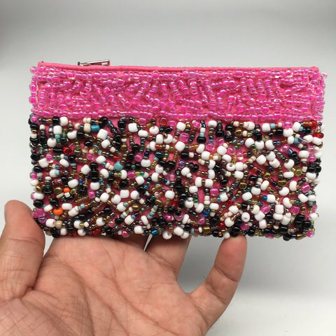 "3"" x 5"" Small Seed Bead Pink Pouch Handbag"