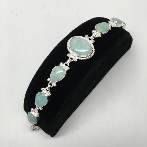 21 Grams Gemstone Oval Green Aventurine Handmade Chained Silver Plated Bracelet