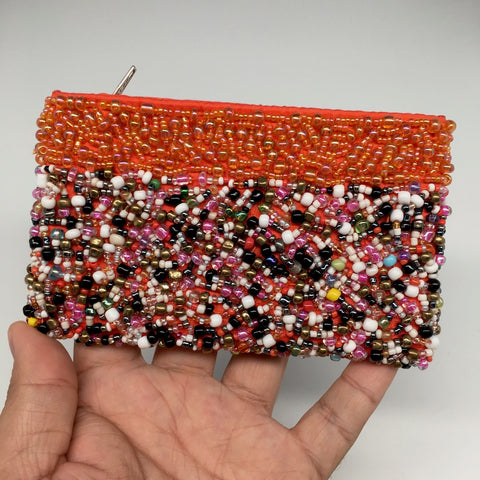 "3"" x 5"" Small Seed Bead Orange Pouch Handbag"