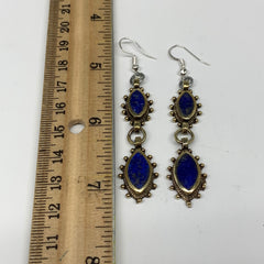 Turkmen Earring Afghan Ethnic Tribal Blue Lapis Lazuli Inlay Earring Handmade TE