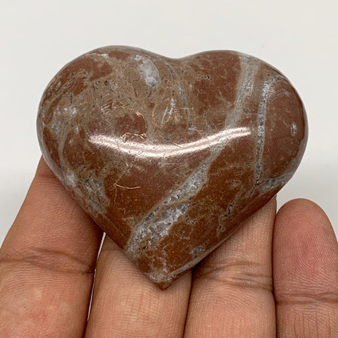 "61.9g, 2"" x 2.2""x 0.7"", Natural Untreated Red Shell Fossils Half Heart @Morocco,"