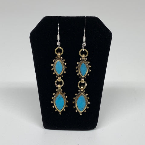 Turkmen Earring Afghan Ethnic Tribal Blue Turquoise Inlay Earring Handmade TE195