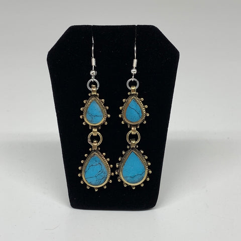 Turkmen Earring Afghan Ethnic Tribal Blue Turquoise Inlay Earring Handmade TE194