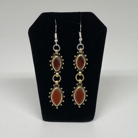 Turkmen Earring Afghan Ethnic Tribal Red Carnelian Oval Earring Handmade TE198