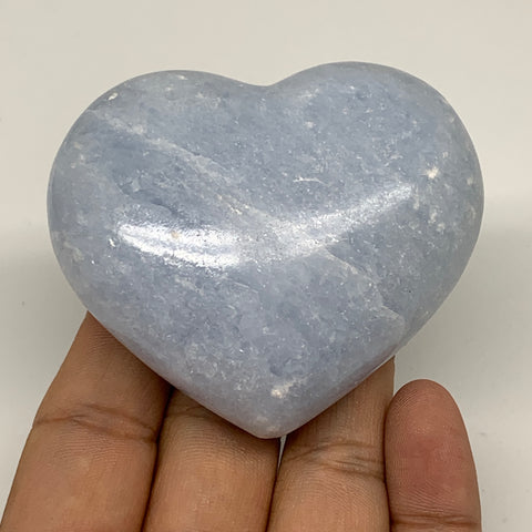 "171g,2.3""x2.6""x1.2"" Blue Calcite Heart Gemstones Reiki Energy @Madagascar,B2169"