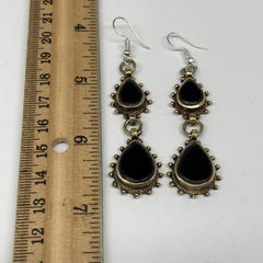 Turkmen Earring Afghan Ethnic Tribal Black Carnelian Oval Earring Handmade TE199