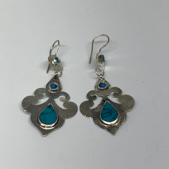 Turkmen Earring Handmade Afghan Tribal  Blue Turquoise Inlay Teardrop Earring, T