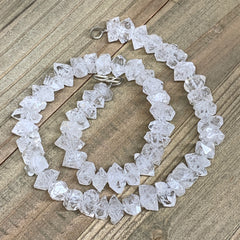 "12-14mm, 58 Bds, 57.9g,Large Natural Terminated Diamond Quartz Beads Strand 16"","