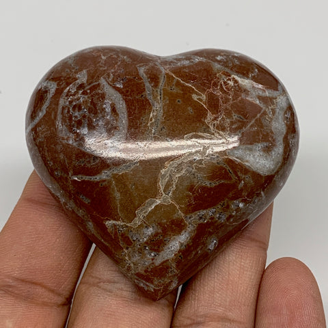 "66g, 2"" x 2.3""x 0.7"", Natural Untreated Red Shell Fossils Half Heart @Morocco,F1"