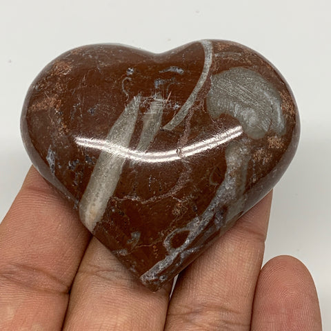 "63.7g, 2"" x 2.2""x 0.6"", Natural Untreated Red Shell Fossils Half Heart @Morocco,"