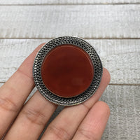 "1.6""x0.3"" Turkmen Ring Afghan Antique Round Red Carnelian Statement,7.5,8, TR172"