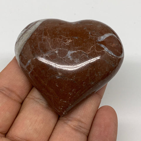 "63.5g, 2"" x 2.2""x 0.7"", Natural Untreated Red Shell Fossils Half Heart @Morocco,"