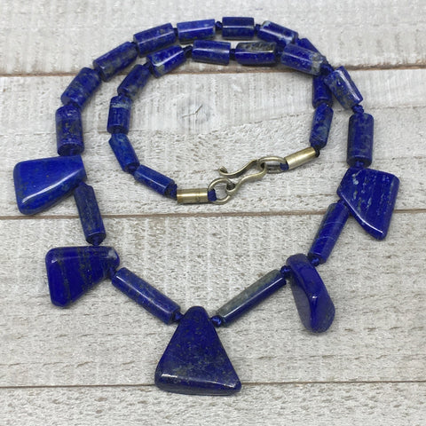 60.1g,10mm-26mm, Natural Lapis Lazuli Polished Tube Beads Strand,29 Beads,LPB257