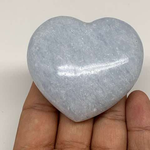 "126.9g,2.1""x2.3""x1.1"" Blue Calcite Heart Gemstones Reiki Energy @Madagascar,B217"
