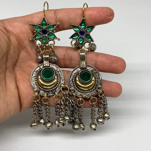 Kuchi Earring Afghan Ethnic Tribal Jingle Bells Green Glass Star, Round  Earring
