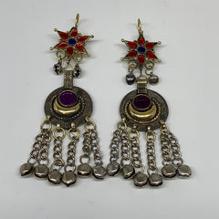 Kuchi Earring Afghan Ethnic Tribal Jingle Bells Colorful Glass Star, Round  Earr