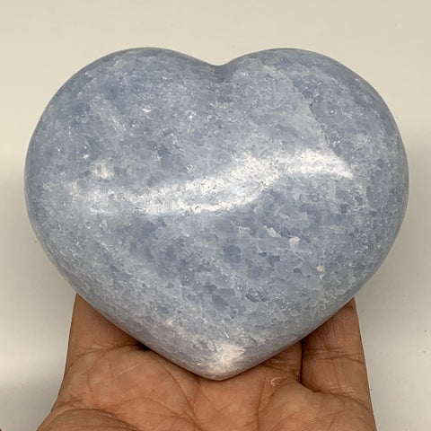 "450.7g,3.3""x3.7""x1.5"" Blue Calcite Heart Gemstones Reiki Energy @Madagascar,B217"