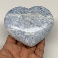"398.5g,3.2""x3.7""x1.3"" Blue Calcite Heart Gemstones Reiki Energy @Madagascar,B217"