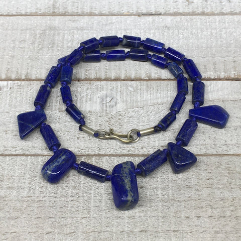 59.6g,9mm-26mm, Natural Lapis Lazuli Polished Tube Beads Strand,31 Beads,LPB263