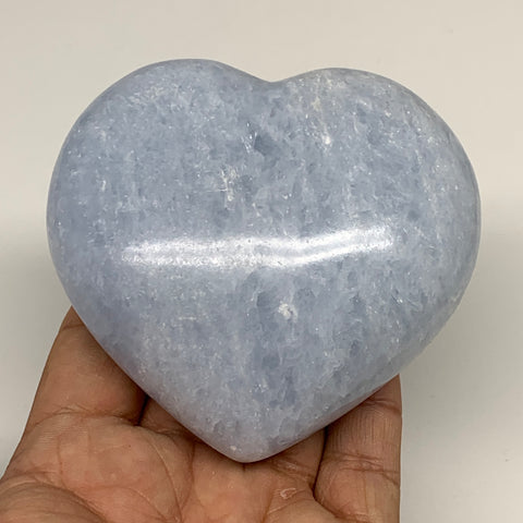 "371.8g,3.2""x3.3""x1.5"" Blue Calcite Heart Gemstones Reiki Energy @Madagascar,B218"