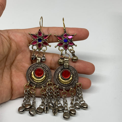 Kuchi Earring Afghan Ethnic Tribal Jingle Bells colorful Glass Star, Round Earri