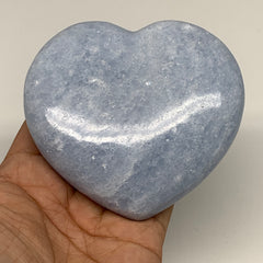 "378.8g,3.4""x3.7""x1.1"" Blue Calcite Heart Gemstones Reiki Energy @Madagascar,B218"