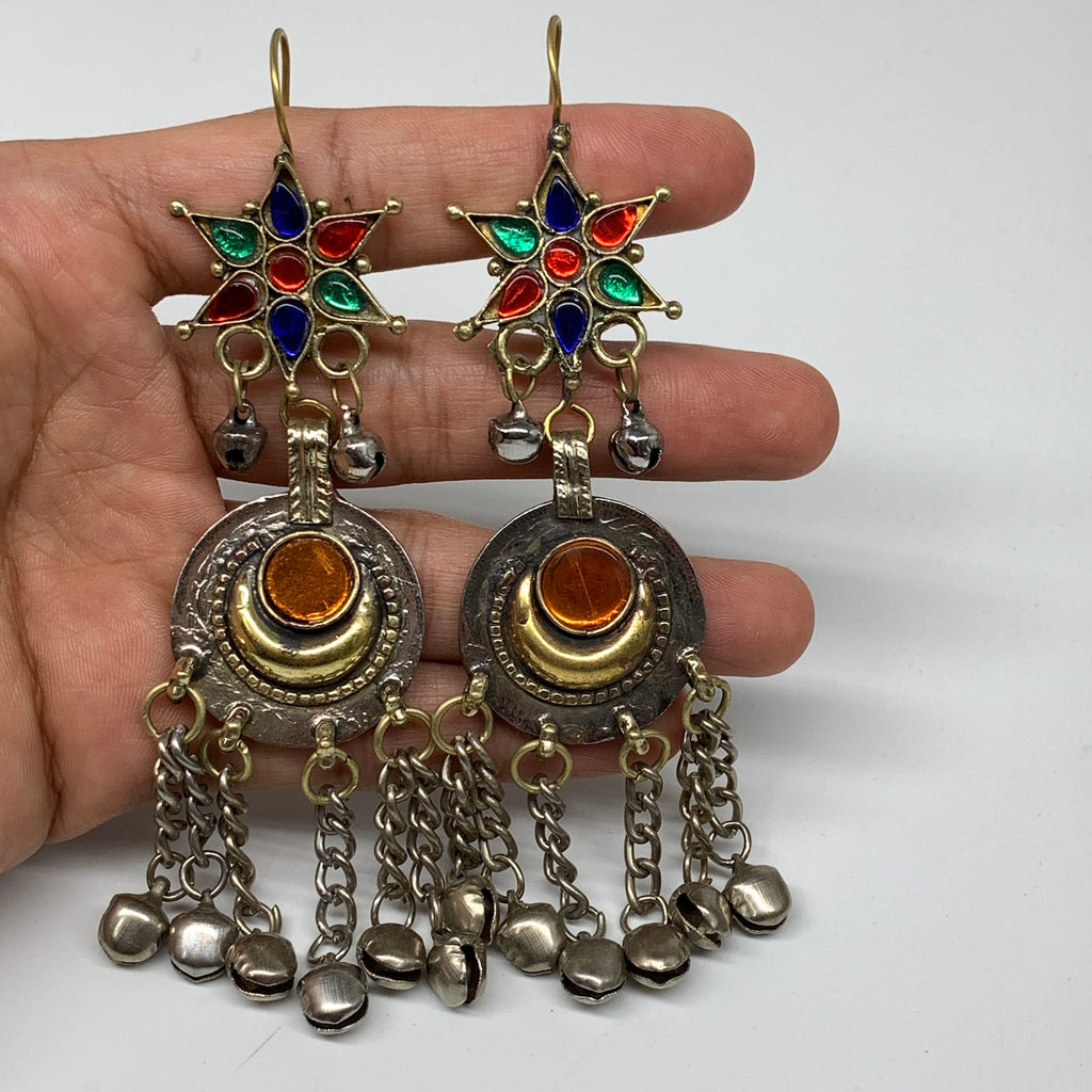 Ethnic Kuchi Earring Afghan Tribal Jingle Bells colorful Glass Star, Round Earri