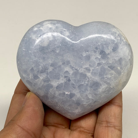 "180.9g,2.4""x2.8""x1.1"" Blue Calcite Heart Gemstones Reiki Energy @Madagascar,B218"