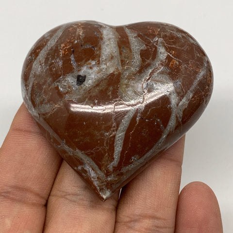 "62.5g, 2.1"" x 2.1""x 0.7"", Natural Untreated Red Shell Fossils Half Heart @Morocc"