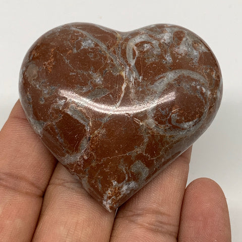"65.2g, 2"" x 2.2""x 0.7"", Natural Untreated Red Shell Fossils Half Heart @Morocco,"
