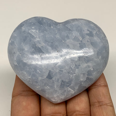 "183.4g,2.5""x2.8""x1.1"" Blue Calcite Heart Gemstones Reiki Energy @Madagascar,B218"