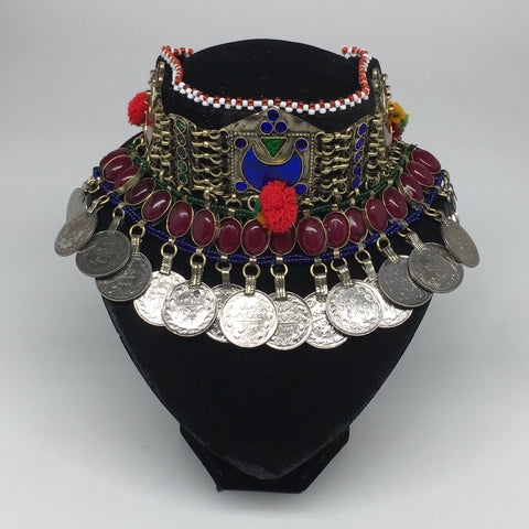 "11.5""x4.5"" Kuchi Choker Multi-Color Tribal Gypsy Bohemian Statement Coins,CK679"