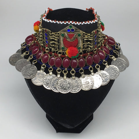 "11.5""x4.5"" Kuchi Choker Multi-Color Tribal Gypsy Bohemian Statement Coins,CK680"