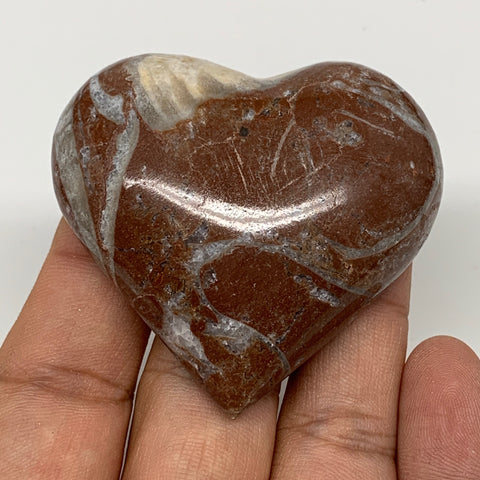 "60.1g, 2"" x 2.2""x 0.6"", Natural Untreated Red Shell Fossils Half Heart @Morocco,"