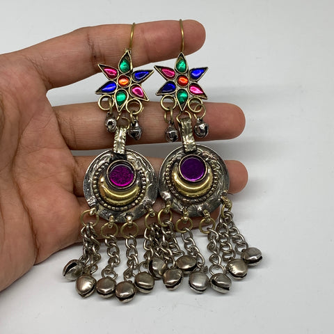 Kuchi Earring Afghan Tribal Ethnic Jingle Bells colorful Glass Star, Round Earri