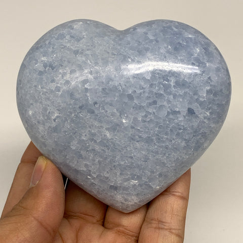 "301.2g,3""x3.2""x1.4"" Blue Calcite Heart Gemstones Reiki Energy @Madagascar,B2188"