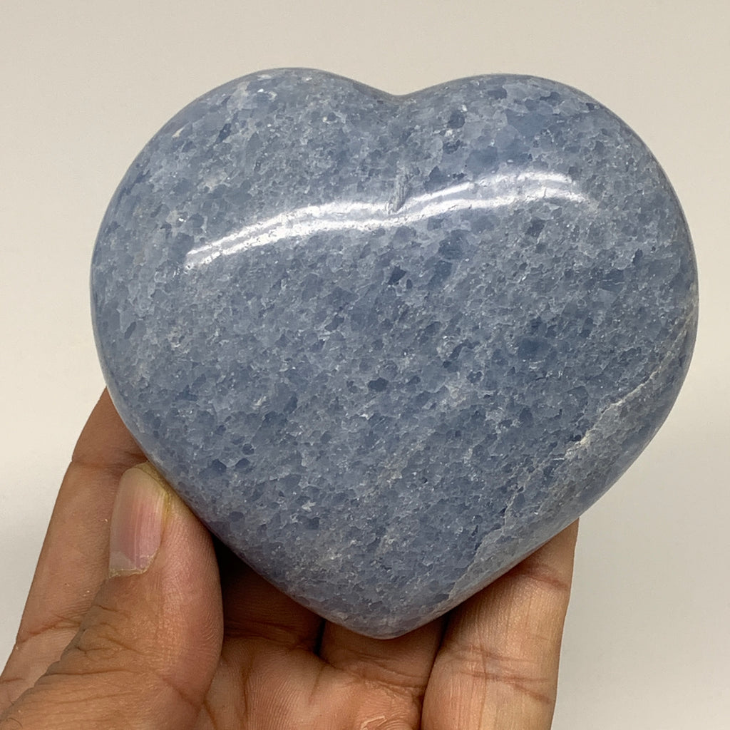 "280.5g,2.9""x3""x1.3"" Blue Calcite Heart Gemstones Reiki Energy @Madagascar,B2190"