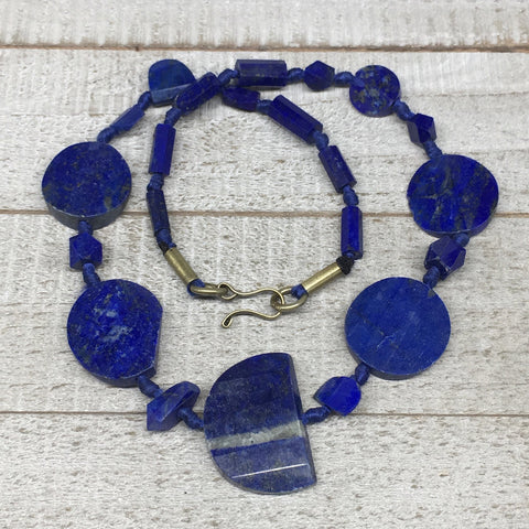 44.3g,7mm-31mm, Natural Lapis Lazuli Polished Tube Beads Strand,22 Beads,LPB281