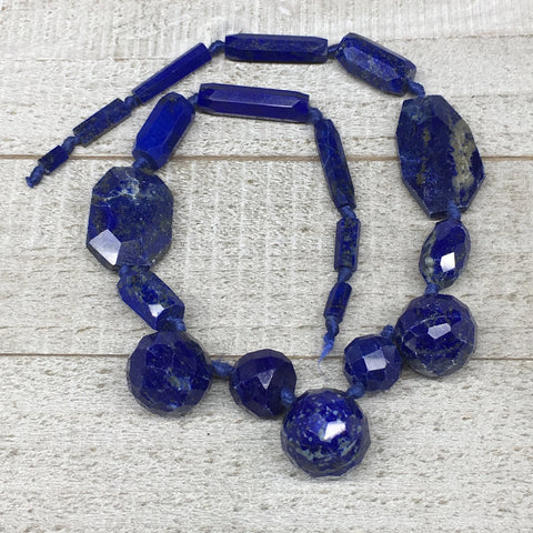 70.3g,7mm-33mm, Natural Lapis Lazuli Facetted Beads Strand,19 Beads,LPB282