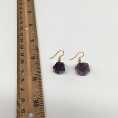 "39cts, 1.4"" Gorgeous Natural Rough Amethyst Gold Plated Earrings @Brazil,BE255"