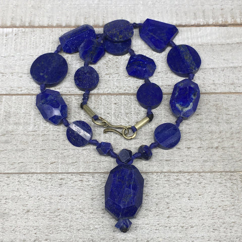 79g,6mm-30mm, Natural Lapis Lazuli Facetted Beads Strand,19 Beads,LPB283